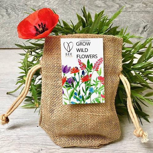 Save The Bee's Wildflower Jute Bag Grow Set