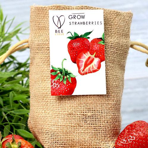 Strawberry Jute Bag Grow Set