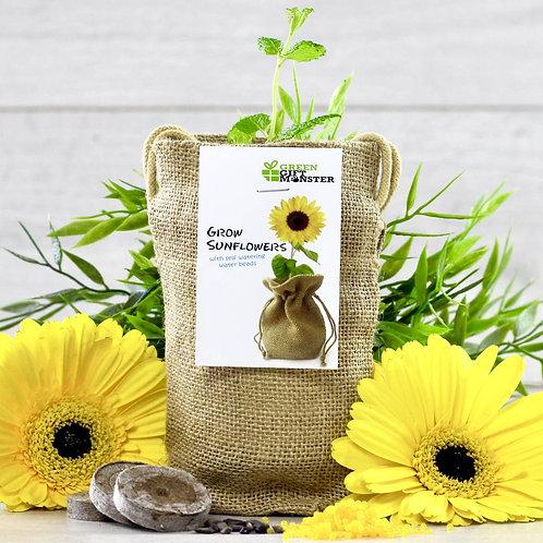 Happy Sunflower Jute Bag Grow Set