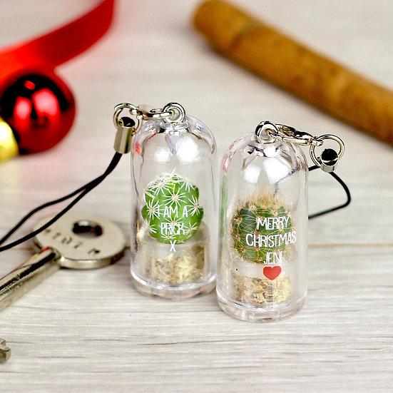 Personalised Mini Terrarium Cactus Keychain