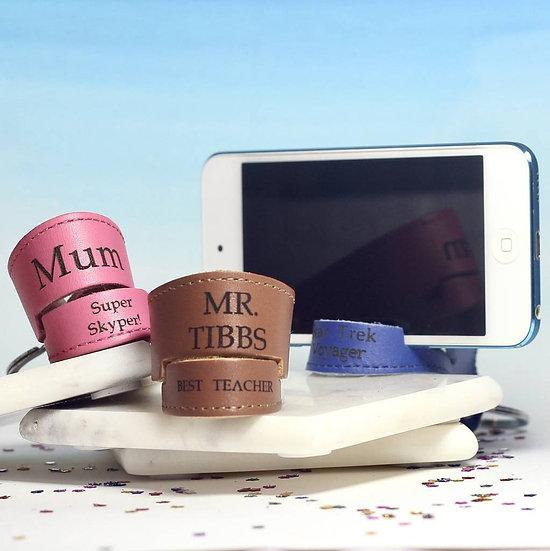 Personalised leather phone holder keyring