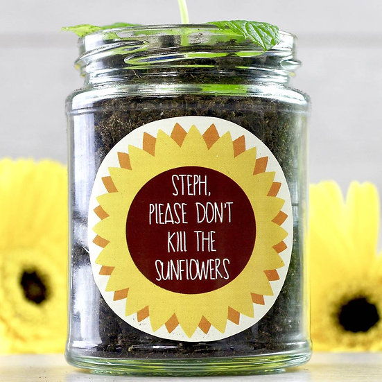 Personalised 'Don't Kill Me' Sunflower Jar
