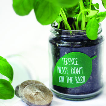 Personalised 'Don't Kill Me' Basil jar