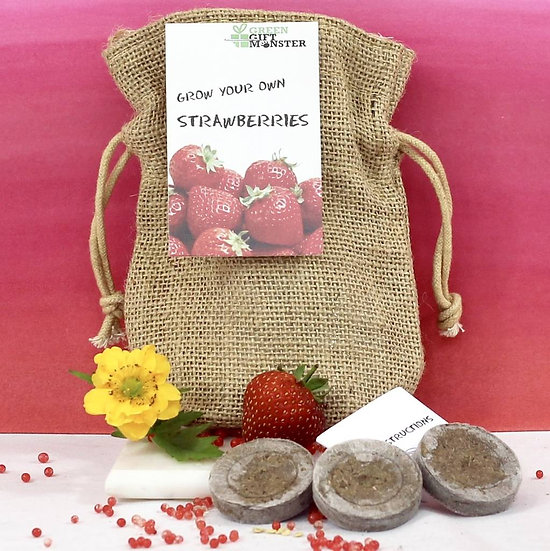 Strawberries jute bag kit