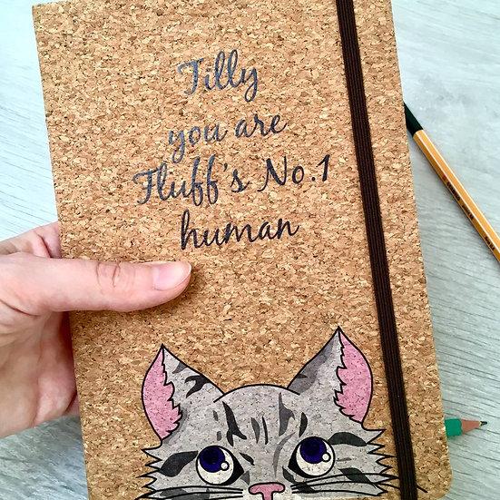 Personalised Cat Cork Notebook