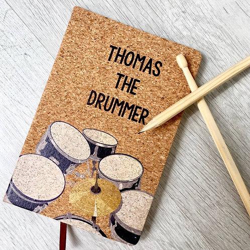 Personalised Drum cork notebook