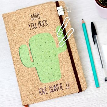 Personalised Cactus Cork Notebook