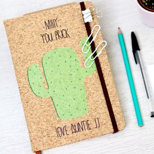 Personalised Cactus Cork Notebook
