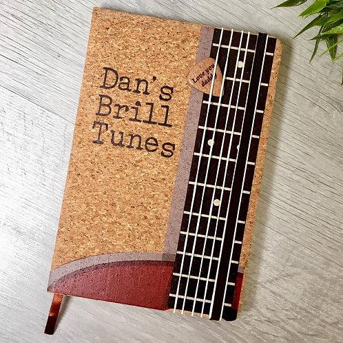 Personalised cork guitar notebook