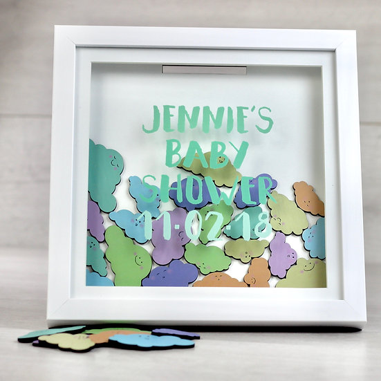 Personalised Baby Shower Message Cloud Frame