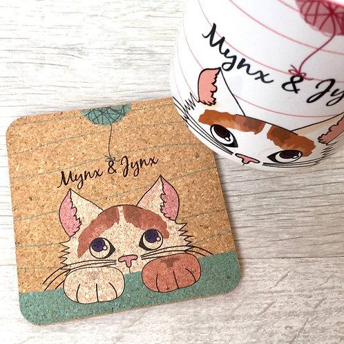 Personalised Cat Cork Coaster