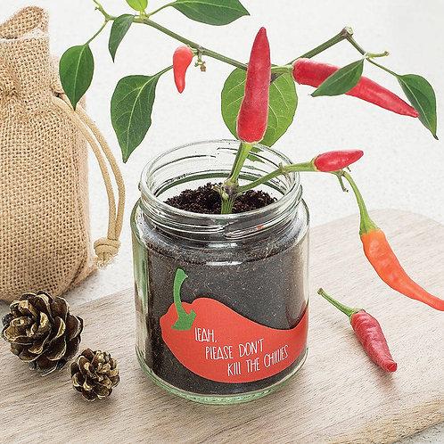 Personalised 'Don't Kill Me' Chilli Grow Jars