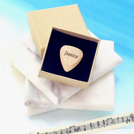 Personalised Natural Wood Guitar Picks