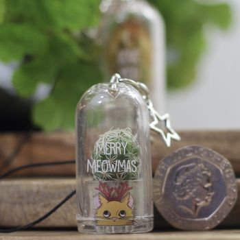 Personalised Cat Cactus keychain