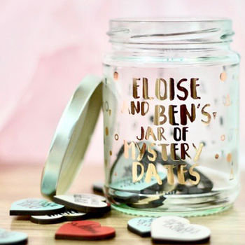 Personalised metallic date jar
