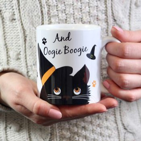 Personalised Halloween cat mug
