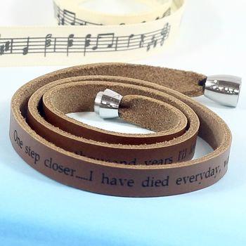 Personalised leather lyrics bracelet