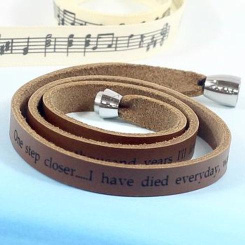 Personalised Lyrics Leather Bracelet