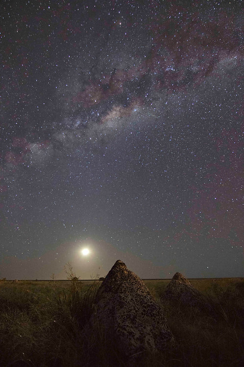 Dampier Creek Termite Mound Milky Way With Moon