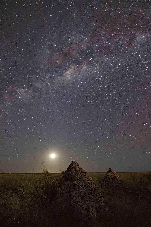 Dampier Creek Termite Mound Milky Way With Moon