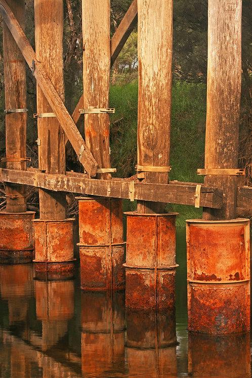 Red wooden Bridge Poles