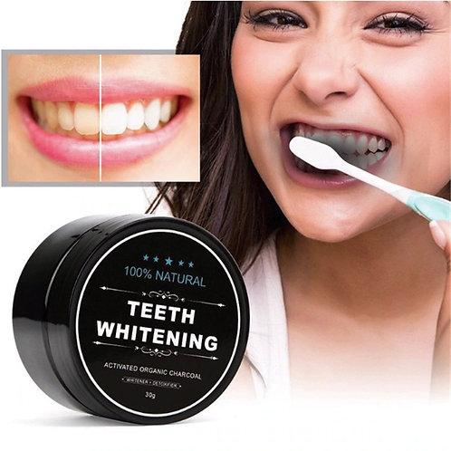 אבקת פחם שחורה להלבנת שיניים  , הלבנת שיניים טבעית - במלאי מיידי