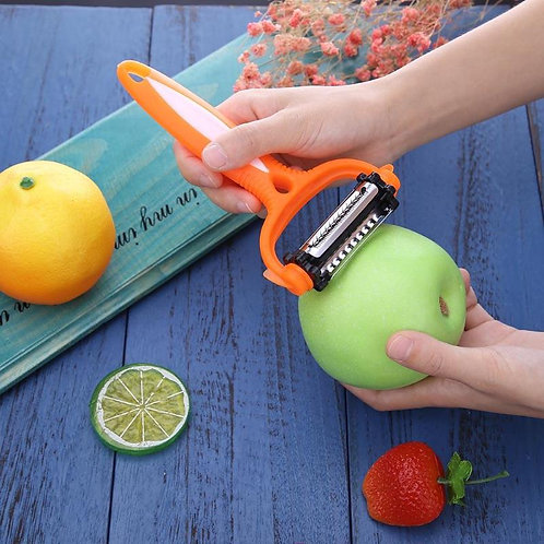 Vktech קולפן 3 מצבים מסתובב לירקות לפירות מקלף מגרד וחותך לפרוסות