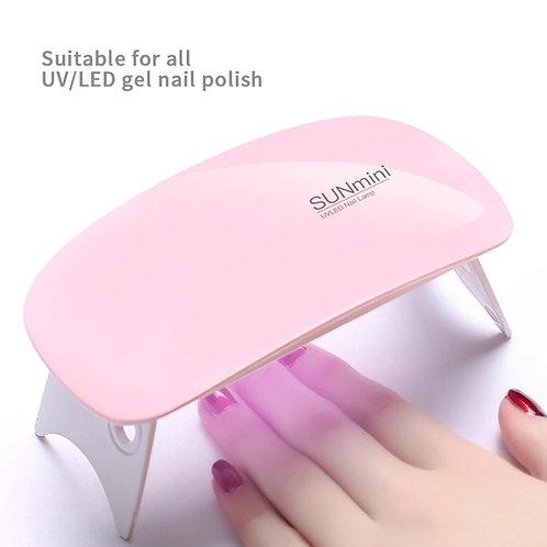 מייבש ציפורניים לד UV , 2 טיימרים בצבע ורוד , לטיפוח הציפורניים