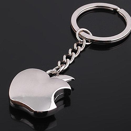 מחזיק מפתחות לוגו של אפל ממתכת מצופה כסף