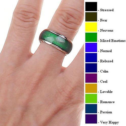 טבעת רגשות , טבעת מצב רוח , מחליפה  צבעים 18 מ'מ למראה מדליק