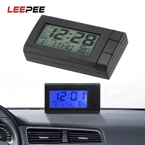 שעון דיגיטלי לרכב + מד חום + , תאריכון כולל תאורת רקע By0134