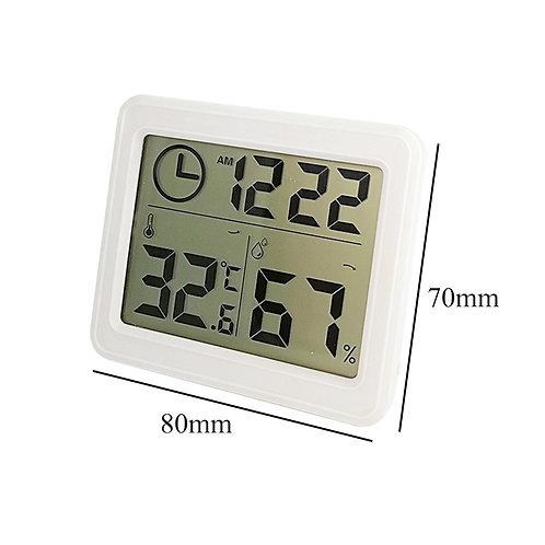 מד טמפרטורה ולחות דיגיטלי כולל שעון