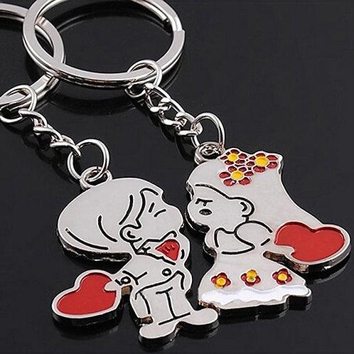 מחזיק מפתחות לבבות לגבר + לאישה , 2 יחידות