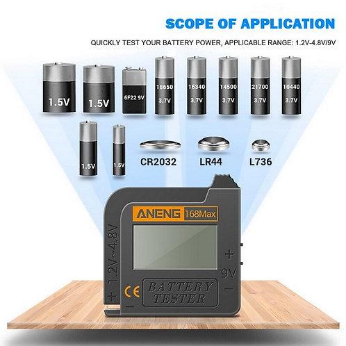 בודק סוללות דיגיטלי אוניברסלי כולל סוללות כפתור , בודק מתח בטריות 168MAX