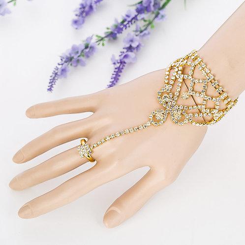 צמיד שרשרת טבעת עם קריסטלים למראה יפה במיוחד - מסדרת עדי ליין