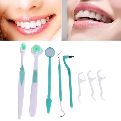 ערכה לטיפוח וניקוי השיניים והפה + מברשת מנקה  לשון , ערכת ניקוי דנטלי לפה 6 ב-1