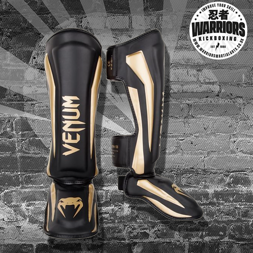 VENUM ELITE STANDUP SHIN GUARDS - BLACK/GOLD