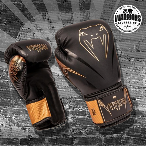 VENUM IMPACT BOXING GLOVES - BLACK/BRONZE or BLACK/NEO YELLOW