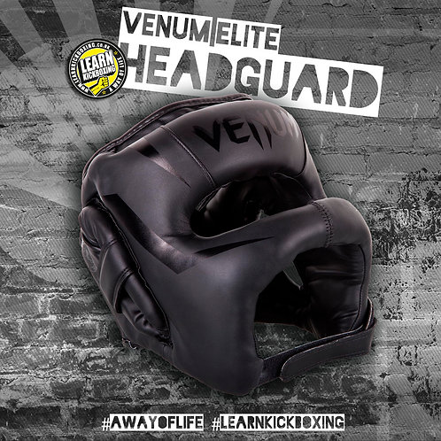 VENUM ELITE HEADGEAR (BLACK/BLACK)