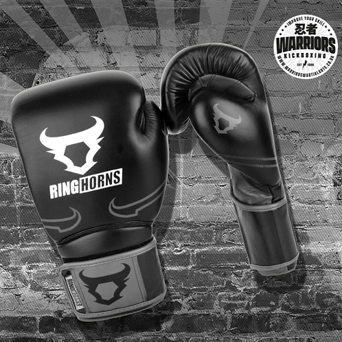 RINGHORNS DESTROYER BOXING GLOVES - LEATHER - BLACK/GREY