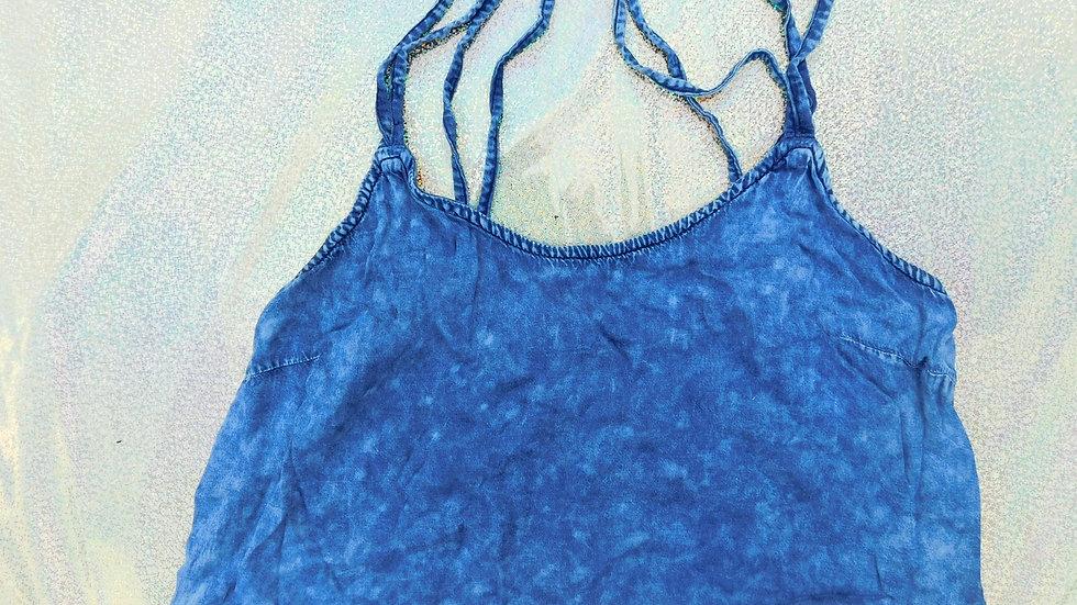 Blue Acid Washed Crossback Crop Top