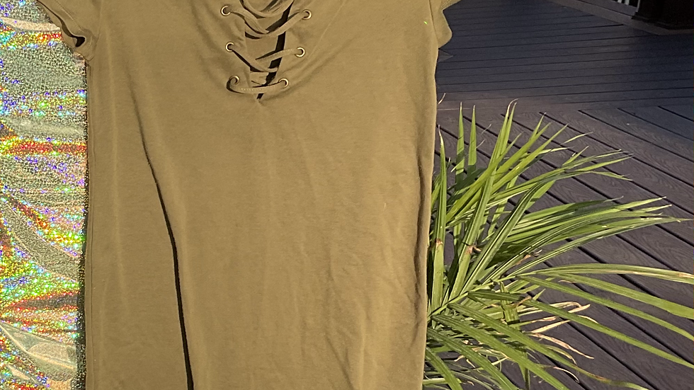 Army Green Criss-Cross Front Dress