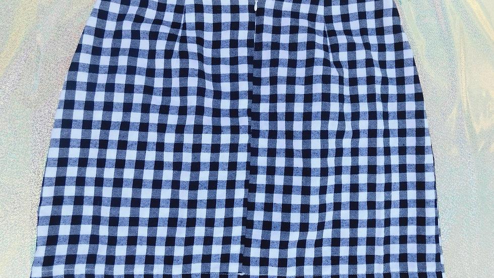 Checkered Black & White Cotton Skirt