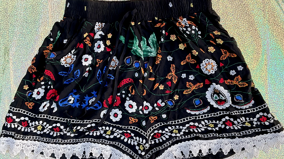 Embroidered Black Floral Shorts