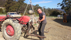 tractor assisted art making