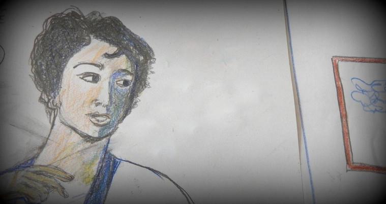 Portrait à la robe bleue