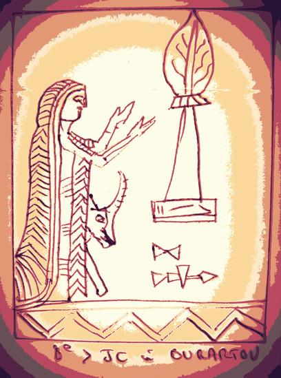 Tutte, la mûre, Tittu.  Inspiré par un relevé de dessin  du 8ème S. à Ourartou