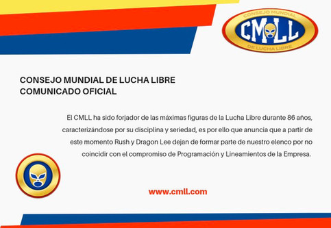 CMLL despide a Rush y Dragon Lee de la empresa a través de comunicado