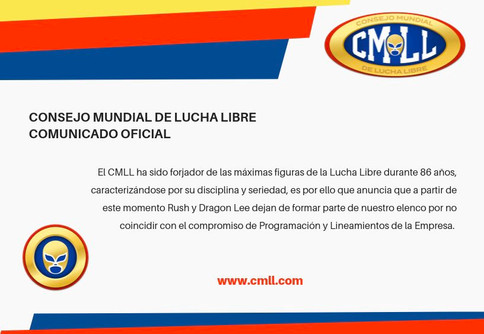 CMLL despide a Rush y Dragon Lee de la empresa a través de comunicado