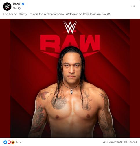 WWE anuncia oficialmente la incursión de Damian Priest a las filas de Raw